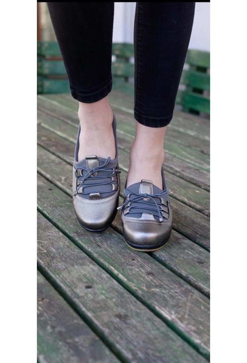 Ayakkabı Esnek Taban Gümüş  Ortopedik