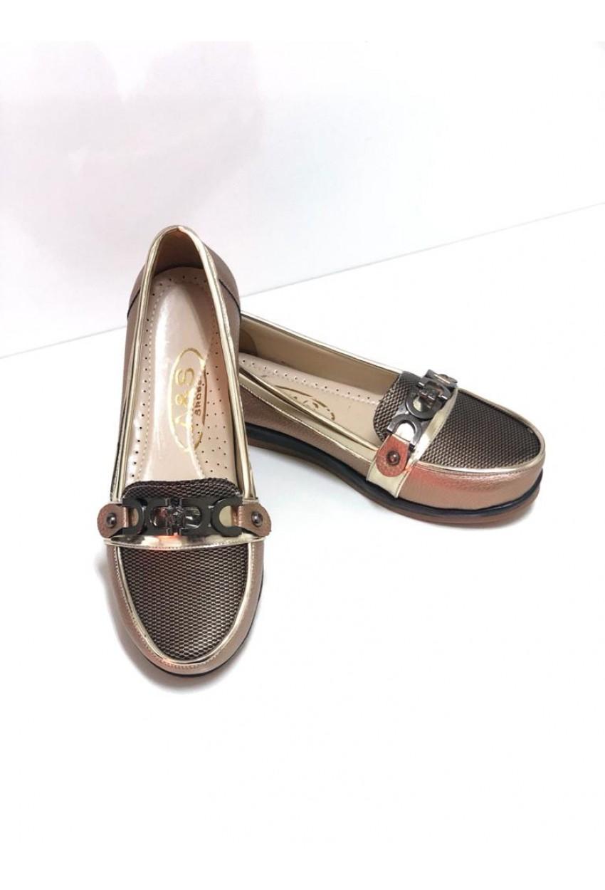 Bayan Ayakkabı Tokalı  gold Ortopedik taban
