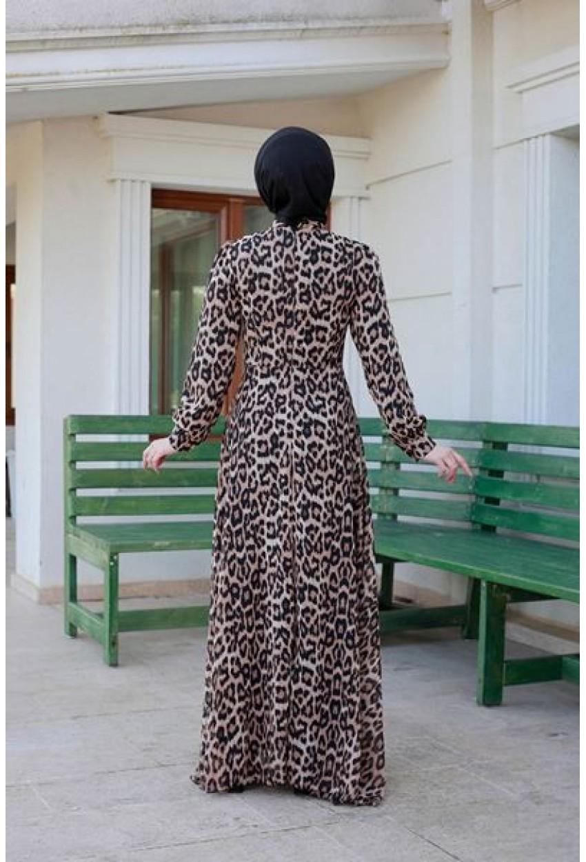 Leopar Desenli Tesettür Elbise