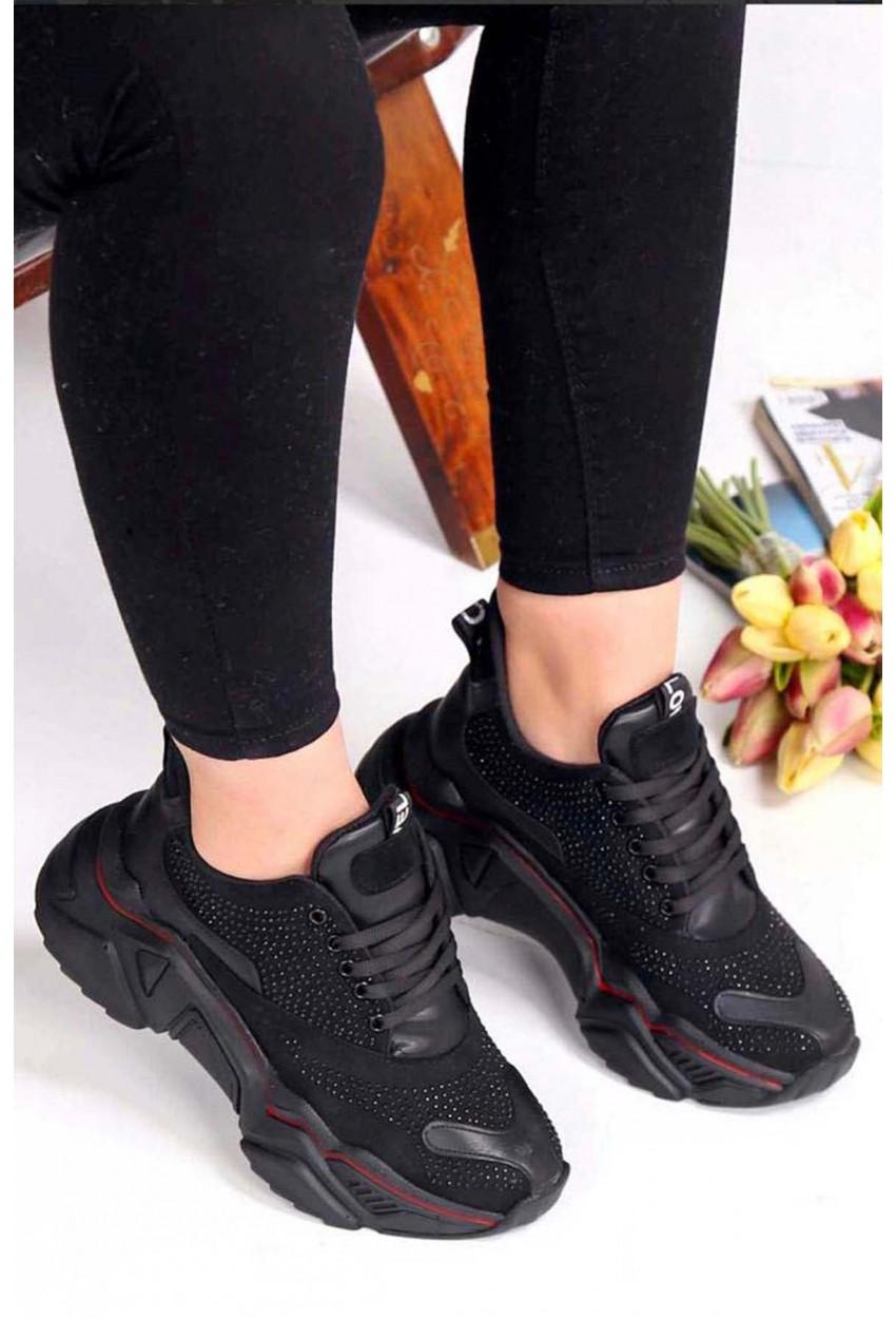 Taş Detay Spor Ayakkabı Siyah Deri