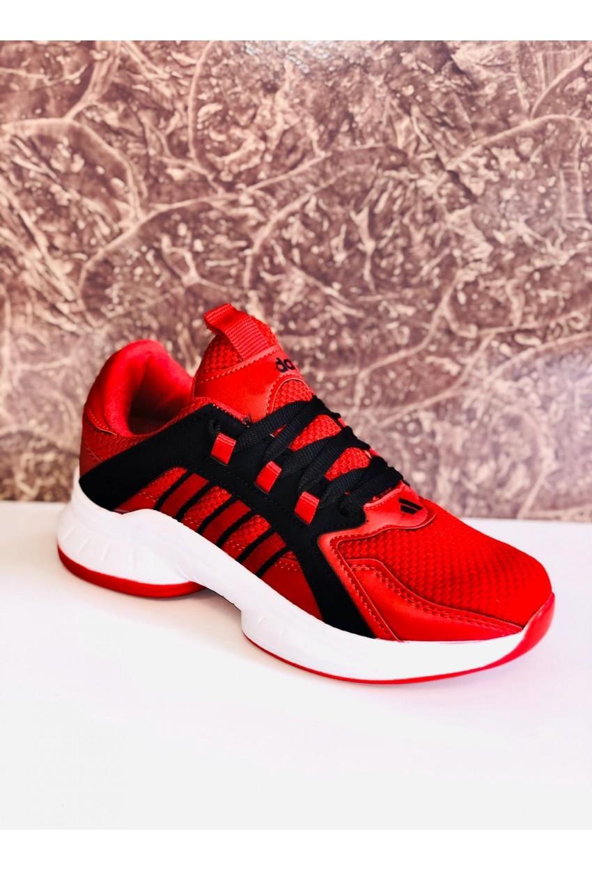 Bayan Spor Ayakkabı Esnek BEYAZ KIRMIZI