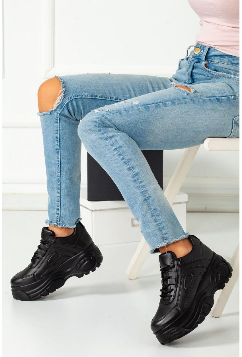 Siyah Deri Spor Ayakkabı Ortopedik Taban