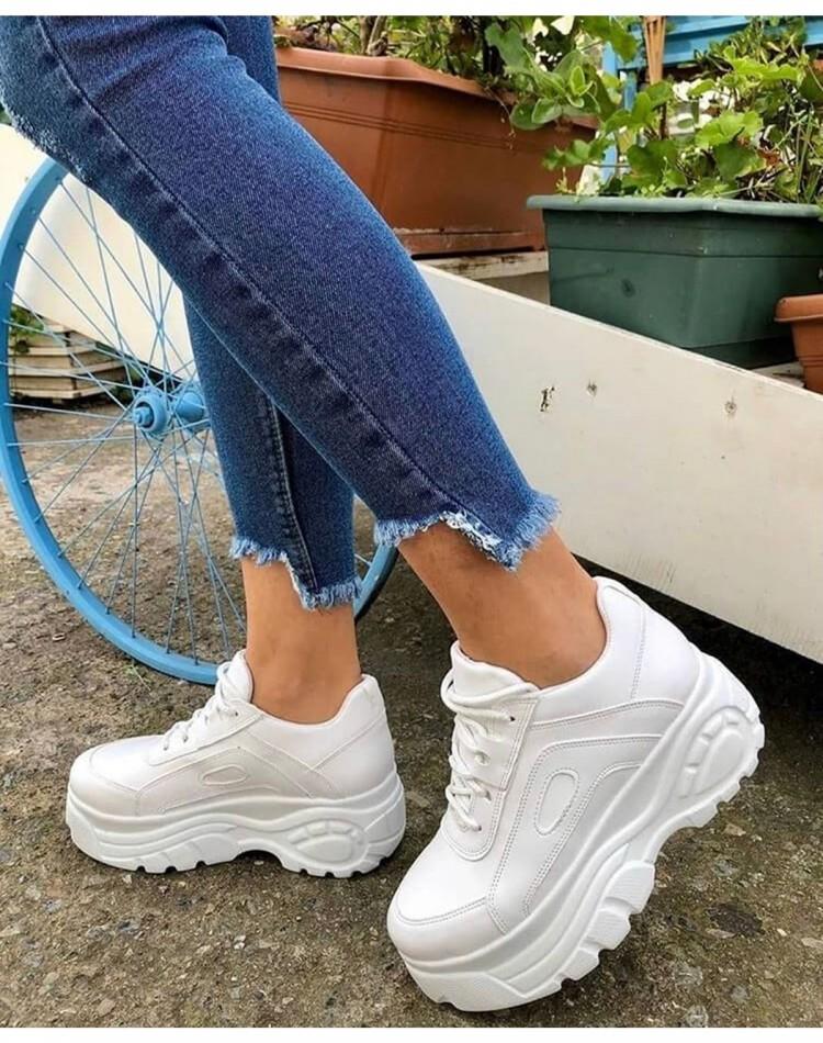 Beyaz Deri Spor Ayakkabı Ortopedik Taban