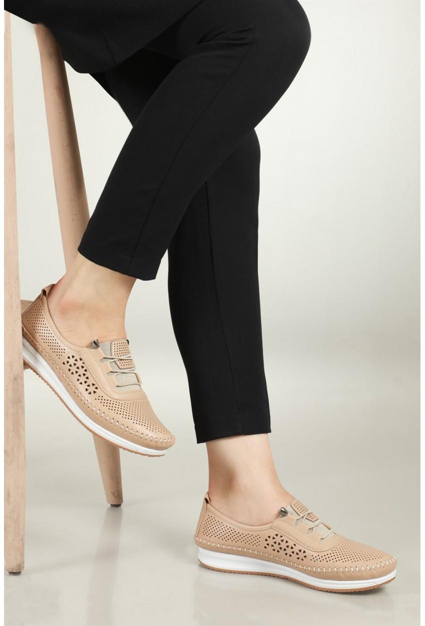 Bayan Ortopedik Deri Ayakkabı Krem