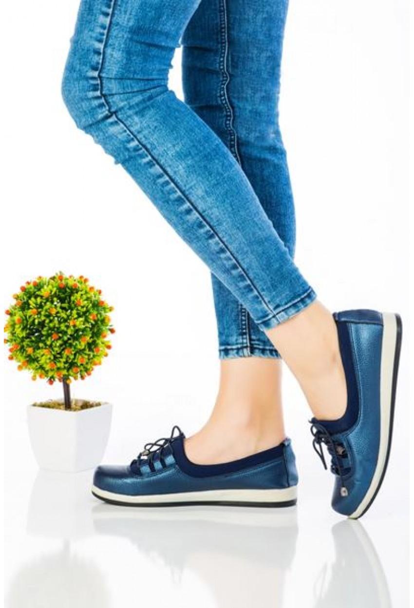 Spor Ayakkabı Esnek Taban Lacivert Renk